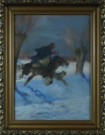 Kossak Jerzy Na koniu (jeździec) r