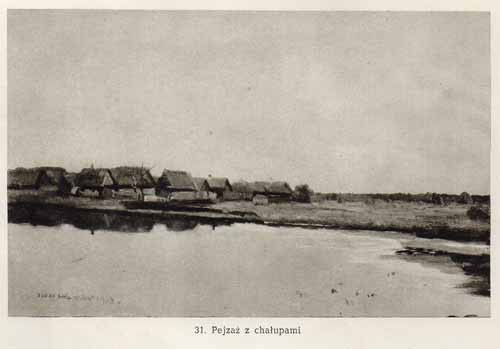 Chełmoński Józef, Pejzaż z chałupami